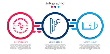 Set line Electric circuit scheme, Electrical panel and Battery charge level indicator. Business infographic template. Vector.