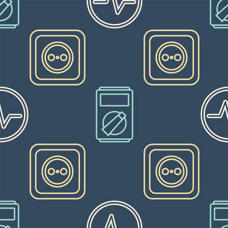 Set line Electric circuit scheme, Electrical outlet and Multimeter on seamless pattern. Vector.