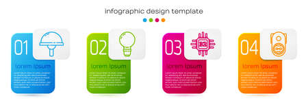 Set line Light emitting diode, Light bulb with concept of idea, Processor with microcircuits CPU and Electrical outlet. Business infographic template. Vector. Ilustração