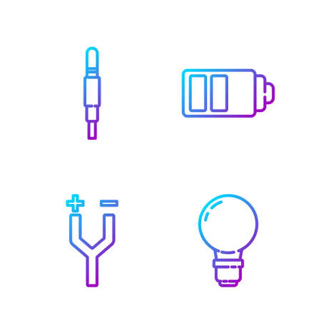 Set line Light bulb with concept of idea, Electric cable, Audio jack and Battery charge level indicator. Gradient color icons. Vector.