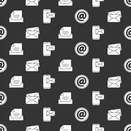 Set Mail and e-mail, Envelope, Drawer with document and Mobile and envelope on seamless pattern. Vector