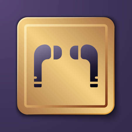 Purple Air headphones icon icon isolated on purple background. Holder wireless in case earphones garniture electronic gadget. Gold square button. Vector Illustration.