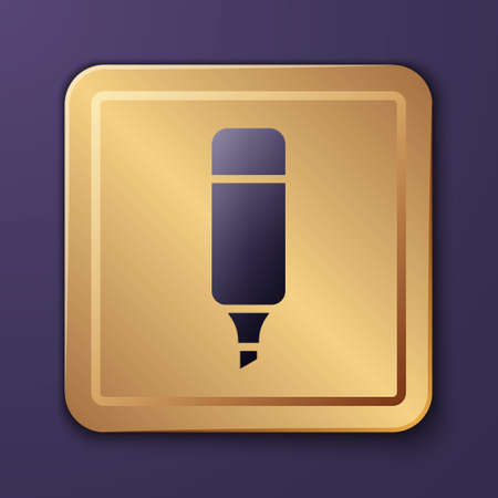 Purple Marker pen icon isolated on purple background. Gold square button. Vector Illustration.