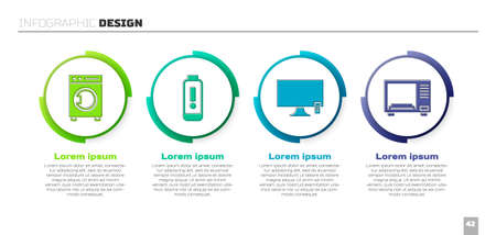 Set Washer, Battery charge level indicator, Smart Tv and Microwave oven. Business infographic template. Vector