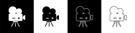 Set Retro cinema camera icon isolated on black and white background. Video camera. Movie sign. Film projector. Vector Illustration. 일러스트
