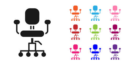 Black Office chair icon isolated on white background. Set icons colorful. Vector Illustration. Ilustração