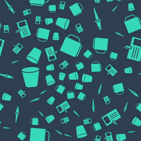 Set Coffee cup, Push pin, Trash can and Identification badge on seamless pattern. Vector Illusztráció