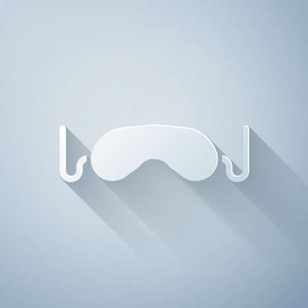 Paper cut Eye sleep mask icon isolated on grey background. Paper art style. Vector Illustration 版權商用圖片 - 150741104