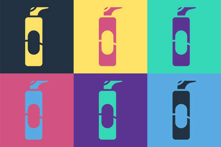 Pop art Spray can for hairspray, deodorant, antiperspirant icon isolated on color background. Vector Illustration