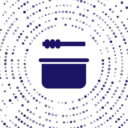 Blue Sauna bucket and ladle icon isolated on white background. Abstract circle random dots. Vector Illustration