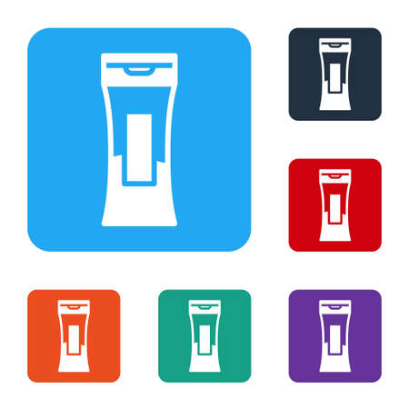 White Bottle of shampoo icon isolated on white background. Set icons in color square buttons. Vector Illustration