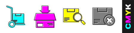 Set Hand truck and boxes, Carton cardboard box, Search package and Carton cardboard box and delete icon. Vector