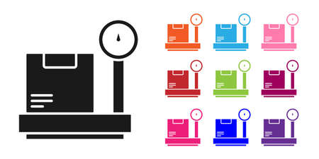 Black Scale with cardboard box icon isolated on white background. Logistic and delivery. Weight of delivery package on a scale. Set icons colorful. Vector Illustration