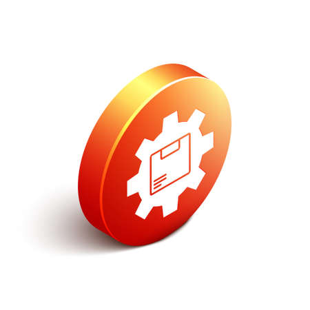 Isometric Gear wheel with package box icon isolated on white background. Box, package, parcel sign. Delivery and packaging. Orange circle button. Vector Illustration