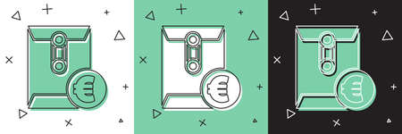 Set Envelope with euro symbol icon isolated on white and green, black background. Salary increase, money payroll, compensation income. Vector Illustration