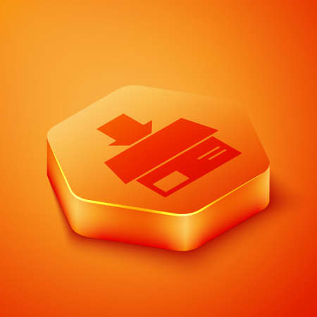 Isometric Carton cardboard box icon isolated on orange background. Box, package, parcel sign. Delivery and packaging. Orange hexagon button. Vector Illustration
