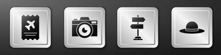 Set Airline ticket, Photo camera, Road traffic sign and Elegant women hat icon. Silver square button. Vector 일러스트