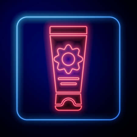 Glowing neon Sunscreen cream in tube icon isolated on blue background. Protection for the skin from solar ultraviolet light. Vector Illustration