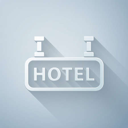 Paper cut Signboard outdoor advertising with text Hotel icon isolated on grey background. Paper art style. Vector Illustration