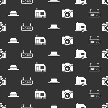 Set Photo camera, Signboard with text Hotel, Man hat with ribbon and Rv Camping trailer on seamless pattern. Vector