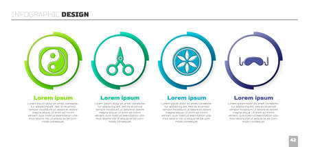 Set Yin Yang, Scissors, Leaf plant nature and Eye sleep mask. Business infographic template. Vector Çizim