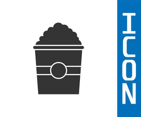 Grey Popcorn in cardboard box icon isolated on white background. Popcorn bucket box. Vector Illustration