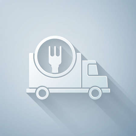Paper cut Fast round the clock delivery by car icon isolated on grey background. Paper art style. Vector Illustration