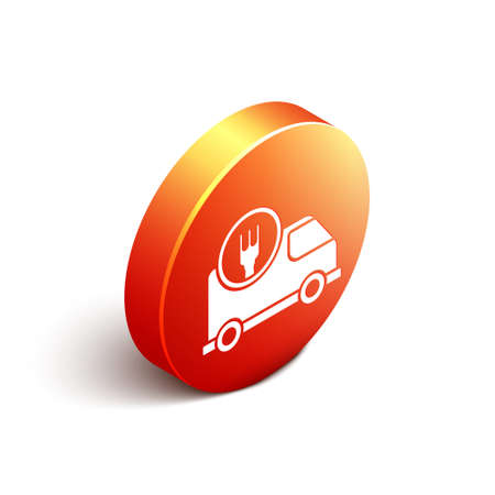 Isometric Fast round the clock delivery by car icon isolated on white background. Orange circle button. Vector Illustration