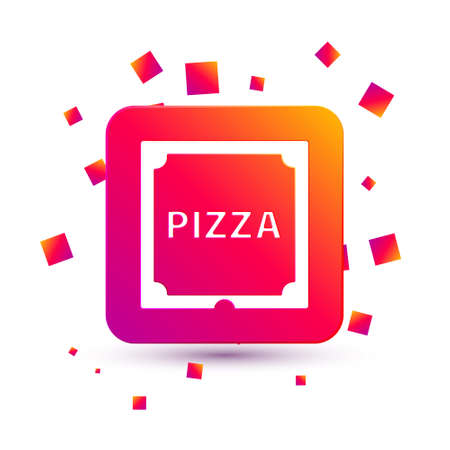 White Pizza in cardboard box icon isolated on white background. Box with layout elements. Square color button. Vector Illustration Ilustrace