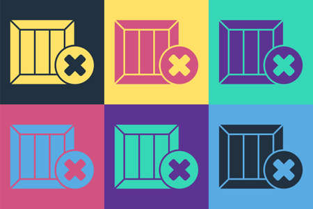 Pop art Wooden box and delete icon isolated on color background. Box, package, parcel sign. Delivery and packaging. Vector Illustration Illusztráció