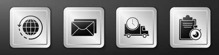 Set Worldwide shipping and box, Envelope, Logistics delivery truck and clock and Verification of delivery list clipboard icon. Silver square button. Vector