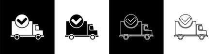 Set Delivery truck with check mark icon isolated on black and white background. Vector Illustration
