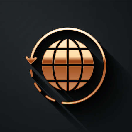 Gold Worldwide shipping and cardboard box icon isolated on black background. Long shadow style. Vector Illustration