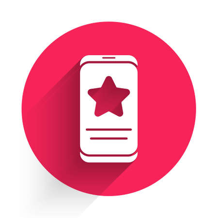 White Mobile phone with review rating icon isolated with long shadow. Concept of testimonials messages, notifications, feedback. Red circle button. Vector Illustration