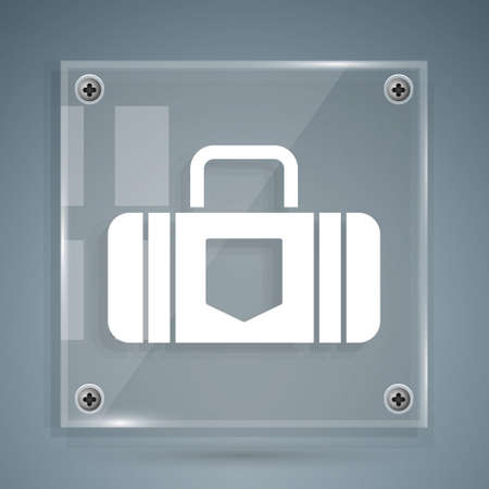 White Suitcase for travel icon isolated on grey background. Traveling baggage sign. Travel luggage icon. Square glass panels. Vector Illustration