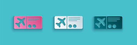 Paper cut Airline ticket icon isolated on blue background. Plane ticket. Paper art style. Vector Illustration