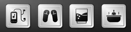 Set Music player, Slipper, Glass with water and Bathtub icon. Silver square button. Vector