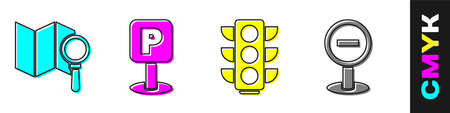 Set Search location, Parking, Traffic light and Stop sign icon. Vector