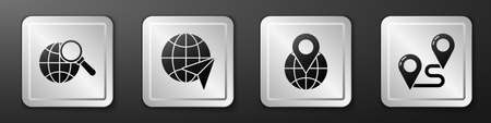 Set Magnifying glass with globe, Globe with flying plane, Location on the globe and Route location icon. Silver square button. Vector