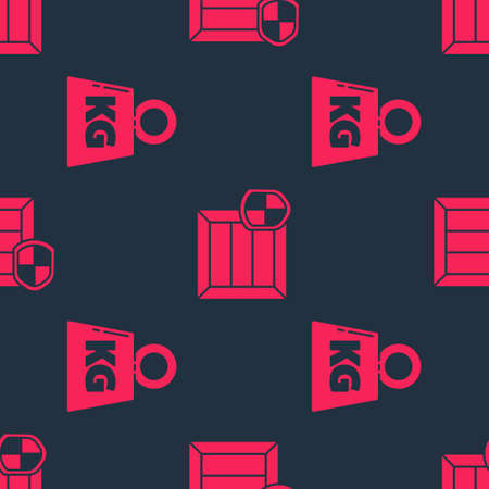 Set Weight and Delivery pack security with shield on seamless pattern. Vector Illusztráció