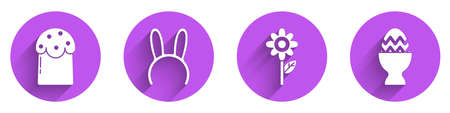 Set Easter cake, Mask with long bunny ears, Flower and Easter egg on a stand icon with long shadow. Vector Vettoriali