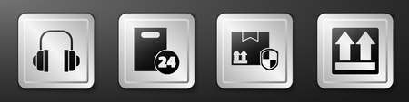 Set Headphones, Delivery with cardboard boxes, Delivery pack security with shield and This side up icon. Silver square button. Vector