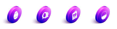 Set Isometric Easter egg, Speech bubble with easter egg, Greeting card with Happy Easter and Basket icon. Vector