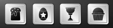 Set Easter cake, Easter egg, Christian chalice and Easter cake icon. Silver square button. Vector