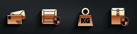 Set Envelope, Delivery pack security with shield, Weight and Envelope with shield icon with long shadow. Vector Illusztráció