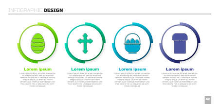 Set Easter egg, Christian cross, Basket with easter eggs and Easter cake. Business infographic template. Vector