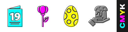 Set Greeting card with Happy Easter, Flower tulip, Easter egg and Human hand and easter cake icon. Vector