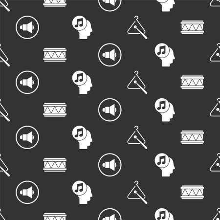 Set Triangle musical instrument, Drum, Speaker volume and Musical note in human head on seamless pattern. Vector