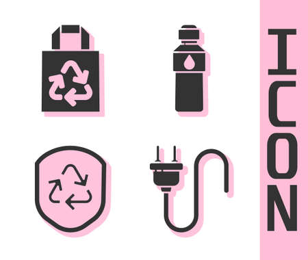 Set Electric plug, Paper bag with recycle, Recycle symbol inside shield and Bottle of water icon. Vector