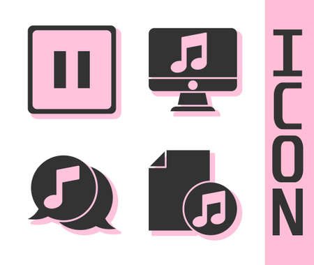 Set Music book with note, Pause button, Musical note in speech bubble and Computer with music note icon. Vector
